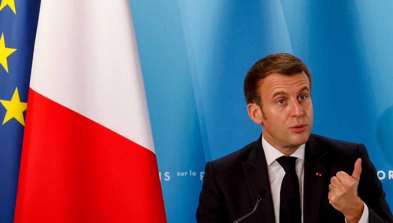 Prezydent Francji Emmanuel Macron przedstawi plan we wtorek (fot. PAP/EPA/LUDOVIC MARIN / POOL)