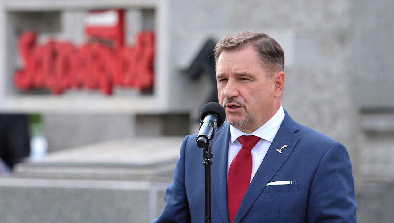 Przewodniczący NSZZ Solidarność Piotr Duda przemawia podczas obchodów 39. rocznicy podpisania Porozumienia Jastrzębskiego (fot. PAP/Andrzej Grygiel)