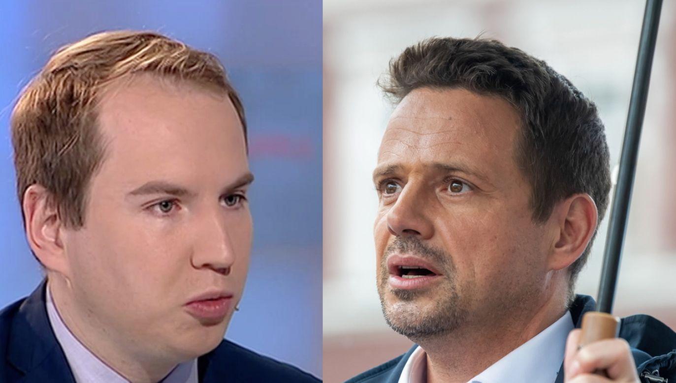 Adam Andruszkiewicz i Rafał Trzaskowski (fot. TVP.Info, PAP/Tytus Żmijewski)