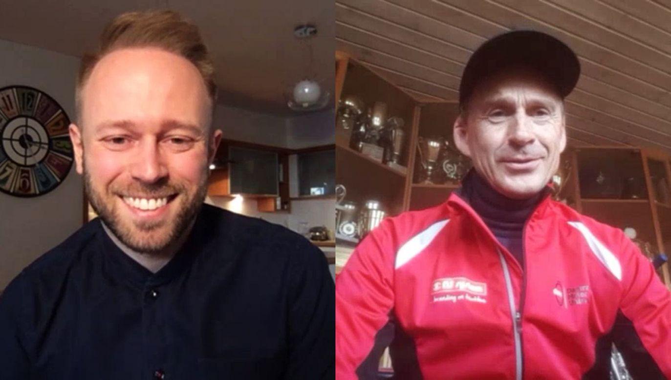 Sebastian Parfjanowicz (dziennikarz TVP Sport) i Hans Nielsen (czterokrotny mistrz świata)