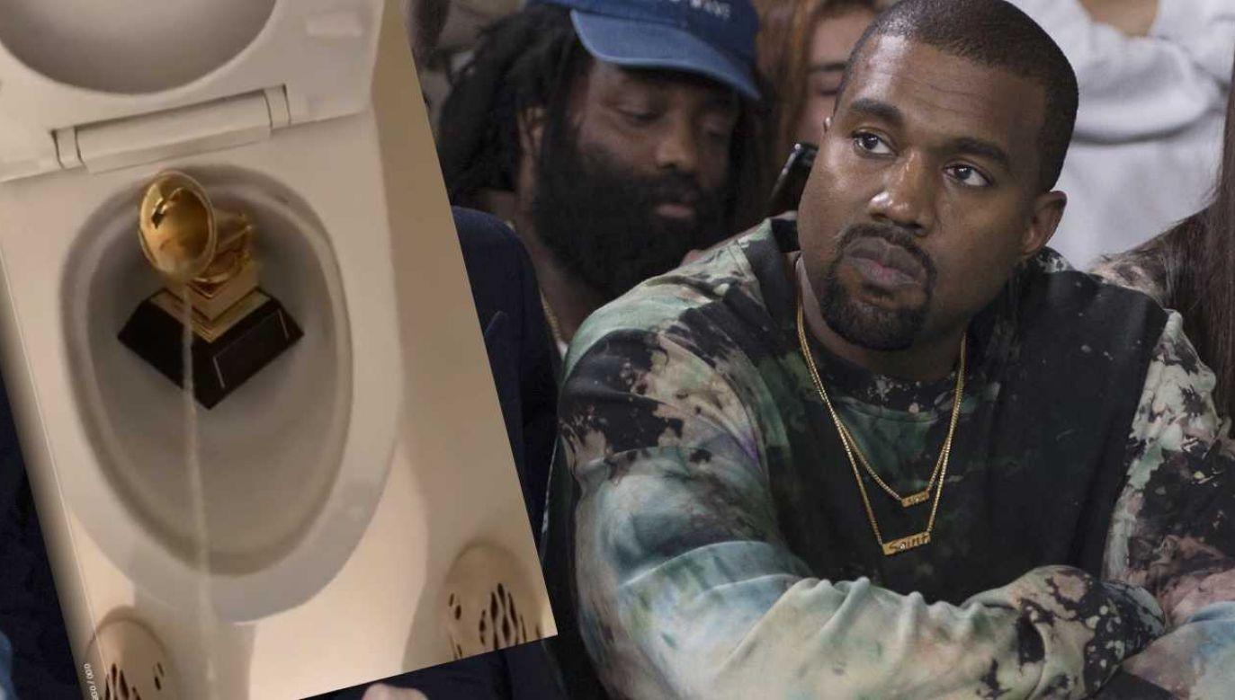 Tak Kanye West potraktował jedną ze swoich nagród Grammy (fot. PAP/EPA/CAROLINE BLUMBERG/TT/Kanye West)