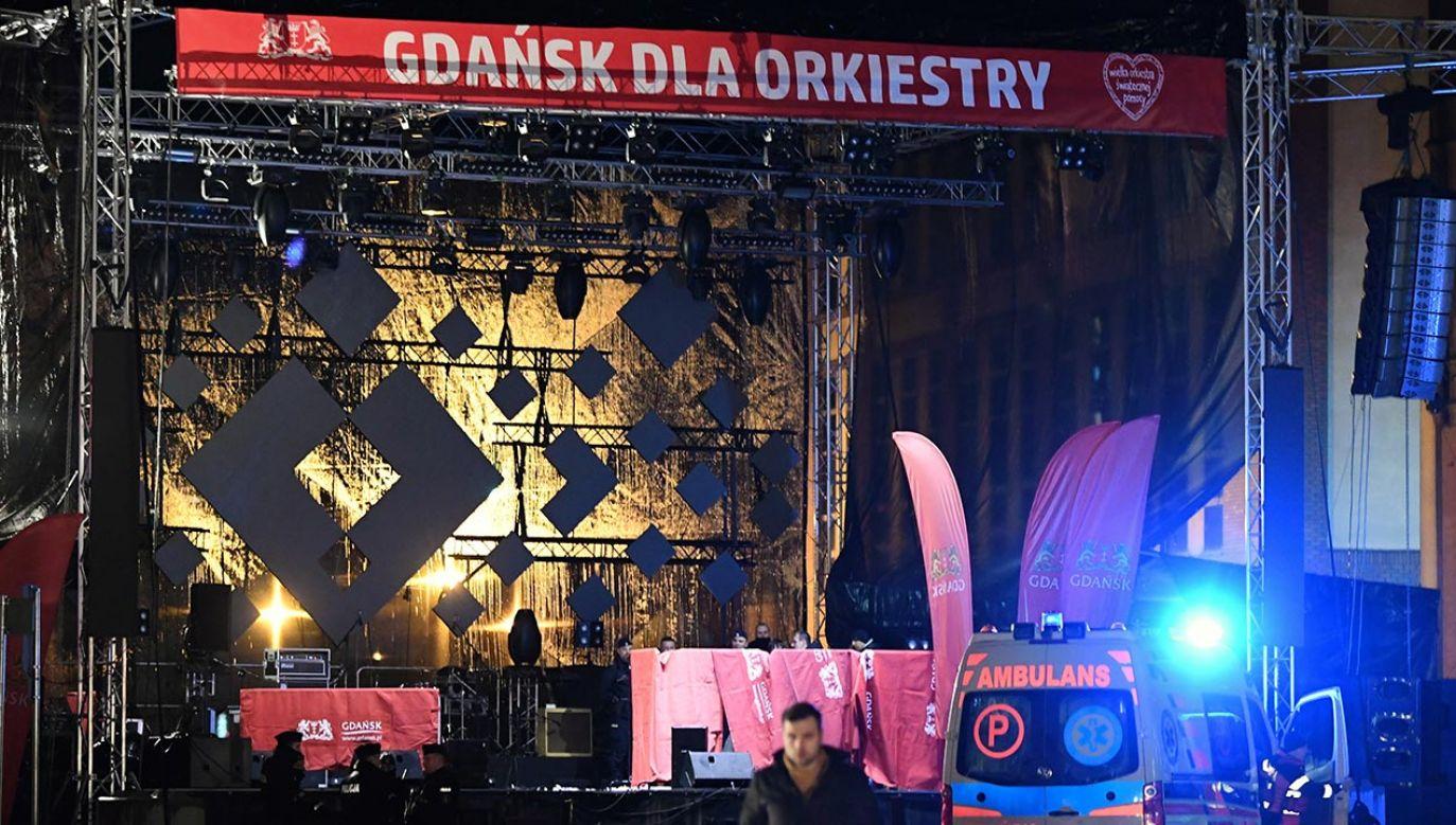 Prezydent Gdańska Paweł Adamowicz został zaatakowany 13 stycznia 2019 r.  w Gdańsku podczas 27. finału Wielkiej Orkiestry Świątecznej Pomocy (fot.  PAP/Adam Warżawa)