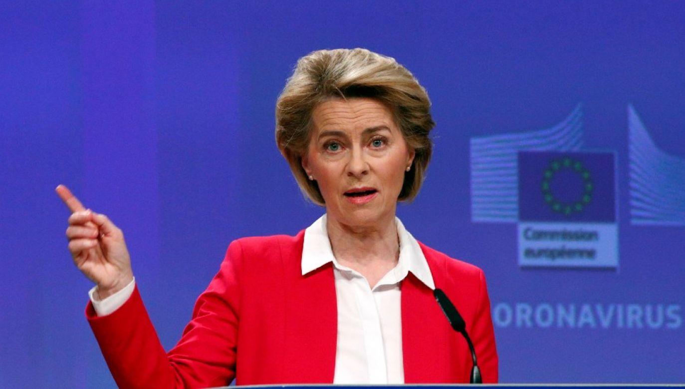 Szefowa KE Ursula von der Leyen wskazała, że nowy budżet UE ma uwzględniać epidemię koronawirusa (fot. PAP/EPA/FRANCOIS LENOIR / POOL)